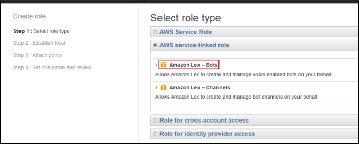 "Screenshot of choosing ""Amazon Lex - Bots"""