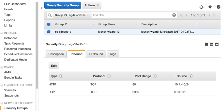 Screenshot showing this security group has only 2 inbound rules