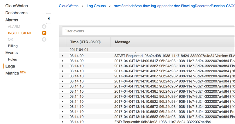 Screenshot showing logs from the Lambda decorator function