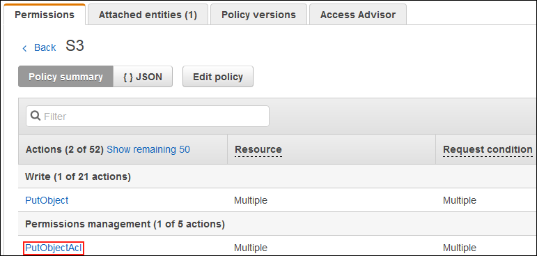 Screenshot showing that the actions defined in the policy grant access to multiple resources