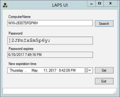 Screenshot of the LAPS UI, which you can use to retrieve the password