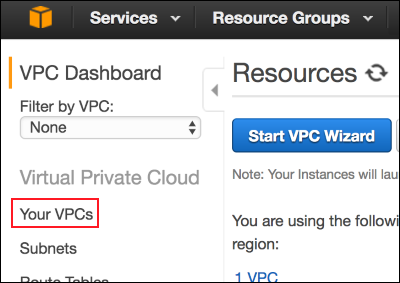 Screenshot of Your VPCs in the VPC console