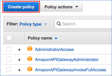 "Screenshot of choosing ""Create policy"""