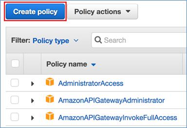 "Screenshot of choosing ""Create policy"""