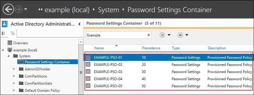 Screenshot showing the five new password policies