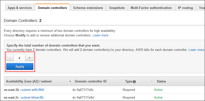 Screenshot showing how to specify the total number of domain controllers