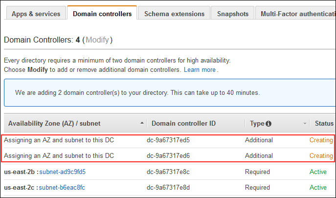 "Screenshot of two additional domain controllers with a status of ""Creating"""