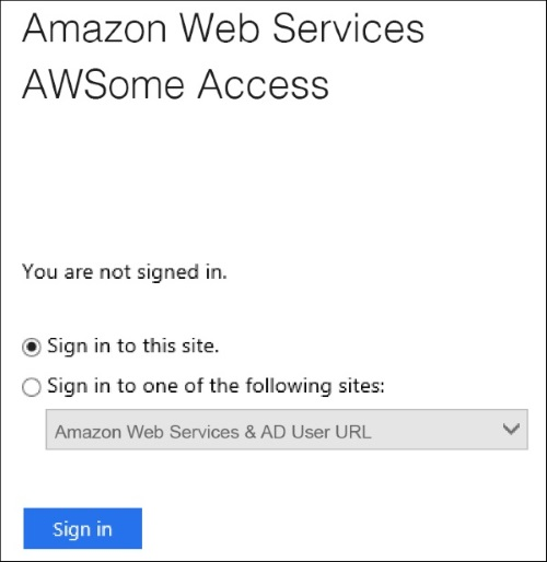 Screenshot of the sign-in page