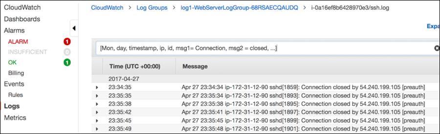 "Screenshot of pasting the line from the ssh.log file into the ""Filter events"" search box"