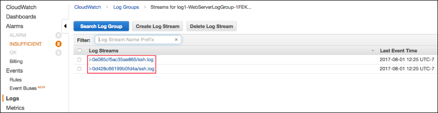 Screenshot of two log streams' instance-IDs