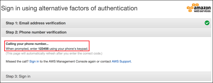Screenshot showing that your phone is being called by AWS for verification
