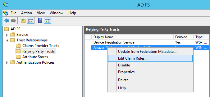 "Screenshot of choosing ""Edit Claim Rules"""