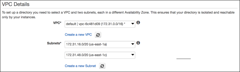 Screenshot of the VPC details to provide