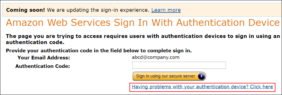 Screenshot showing the link to click if having problems with your authentication device