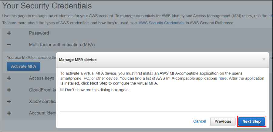 Screenshot showing that you must first install an AWS MFA-compatible application