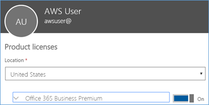 Screenshot of assigning a license to a user created in the AWS Microsoft AD directory
