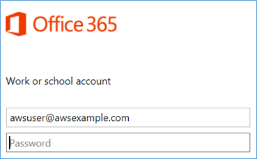 Screenshot of signing in with the AWS Microsoft AD user account