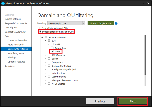 syncing aws managed active directory to azure ad