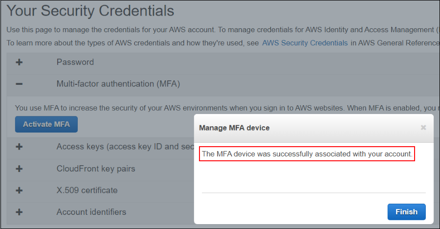 Screenshot showing that the virtual MFA device was successfully associated with the account