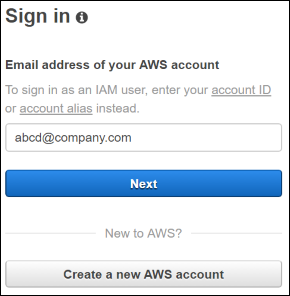 Screenshot of the AWS sign-in page