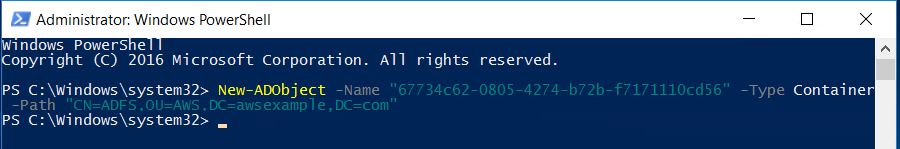 Screenshot of the Windows PowerShell command