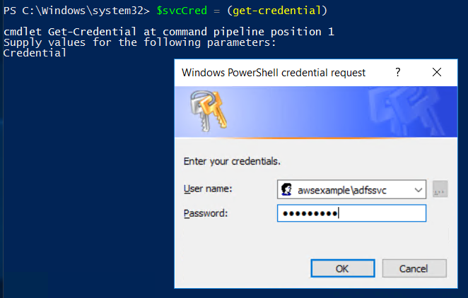 Screenshot of entering the user account credentials for the ADFSSVC user
