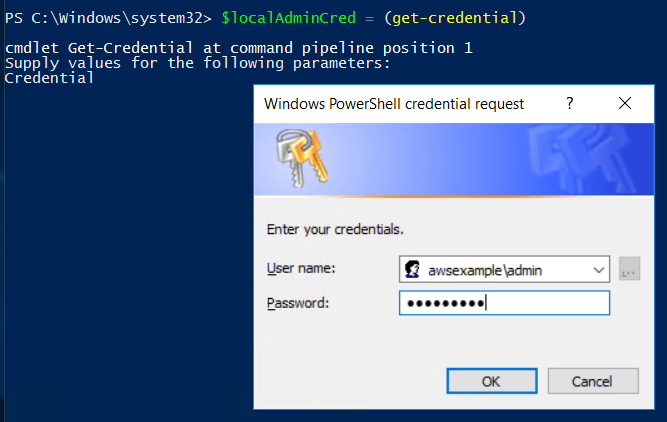 Screenshot of entering the credentials of the Admin user