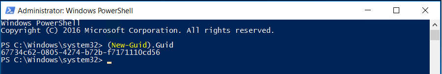 Screenshot of the (New-Guid).Guid Windows PowerShell command