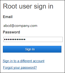 Screenshot of Root user sign in page