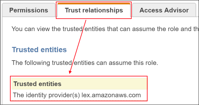 Screenshot of the trusted entities that can assume the service-linked role