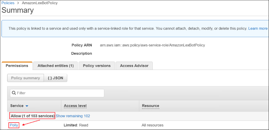 Screenshot showing that AmazonLexBotPolicy grants permission to Amazon Lex to use Amazon Polly