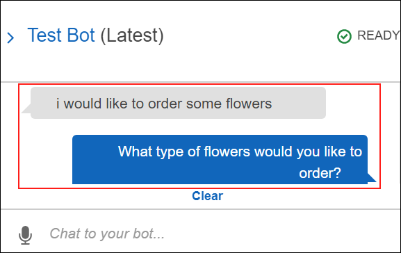 Screenshot of voice input to test the OrderFlowers chatbot