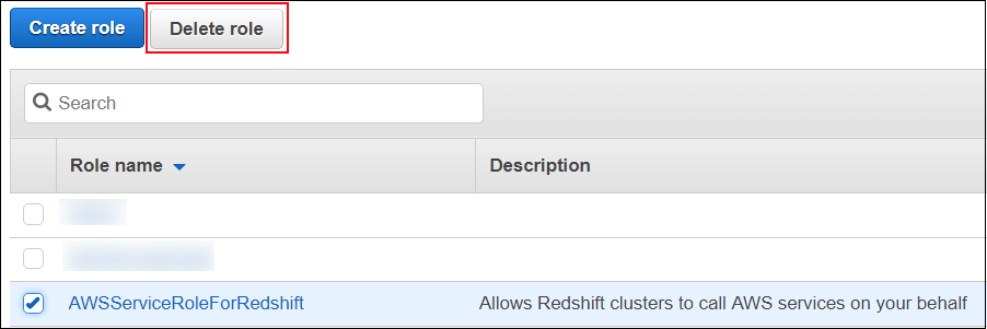 Screenshot of the AWSServiceRoleForRedshift service-linked role
