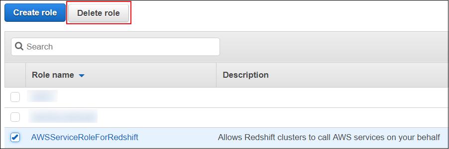 Screenshot of the AWSServiceRoleForRedshift service-linked role