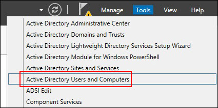 """Screnshot of the menu including the """"Active Directory Users and Computers"""" choice"""