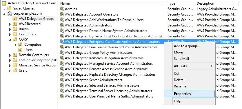 Screenshot of navigating to AWS Delegated Enterprise Certificate Authority Administrators > Properties