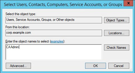 """Screenshot showing the """"Enter the object names to select"""" box"""