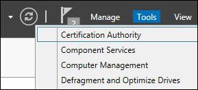 "Screenshot of ""Certification Authority"" in the drop-down menu"