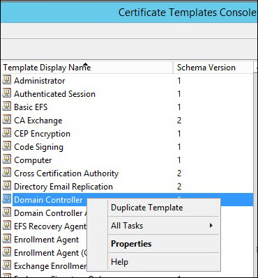 Screenshot of the Certificate Templates Console window