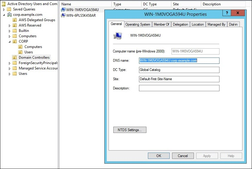 Screenshot of copying the DNS name of the domain controller