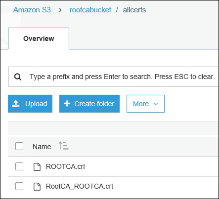 Screenshot of RootCA's public certificate and CRL uploaded to the S3 bucket