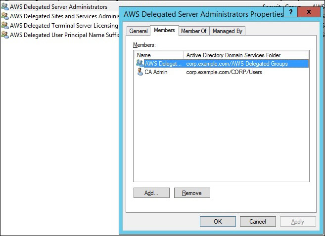 "Screenshot of adding ""CAAdmin"" to the ""AWS Delegated Server Administrators"" security group also so that ""CAAdmin"" can RDP in to the Microsoft enterprise CA machine"