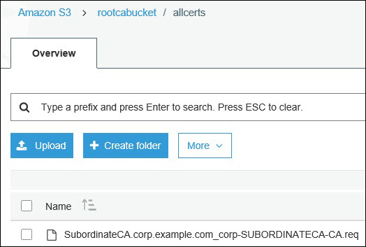 Screenshot of uploading the certificate request to the S3 bucket