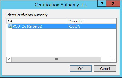 Screenshot of the Certification Authority List window