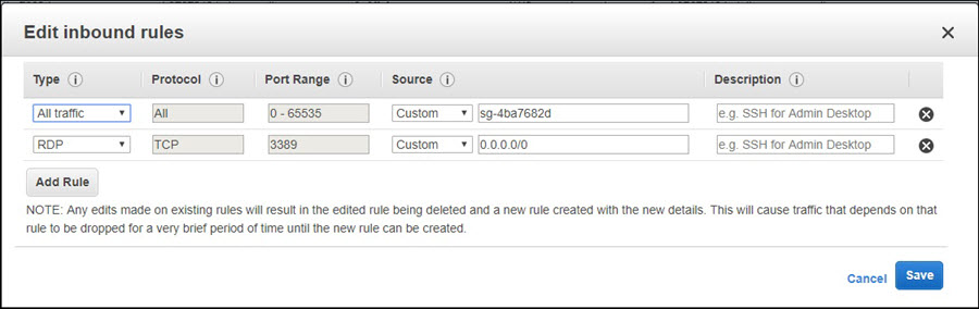Screenshot of adding an inbound rule