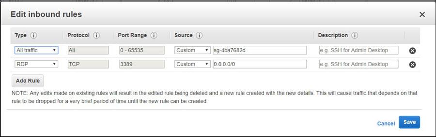 Screenshot of adding an inbound rule