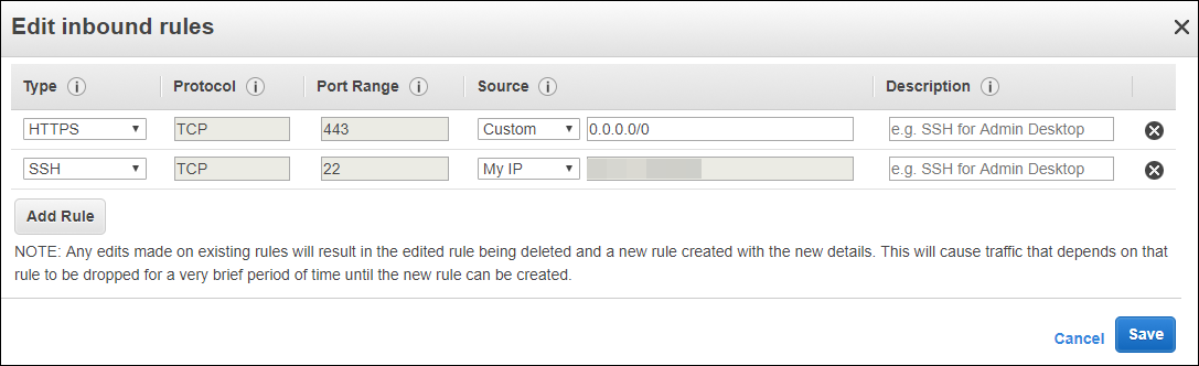 Screenshot of editing inbound rules