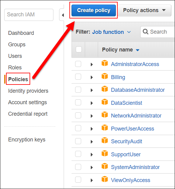 "Image of the ""Create policy"" button"