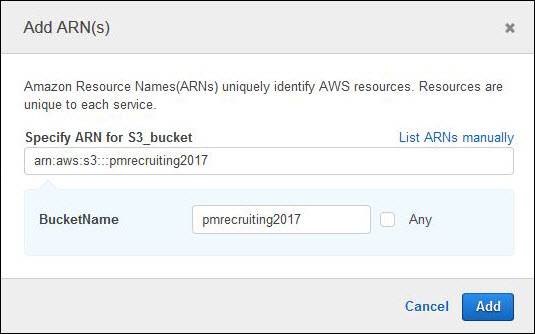 Screenshot of specifying the S3 bucket resource