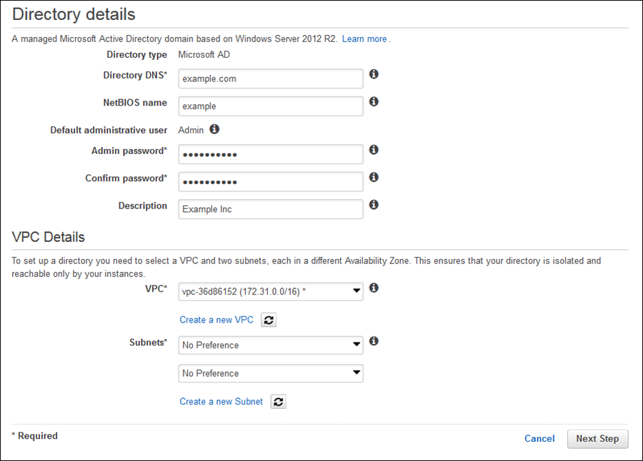 Image of creating an AWS Managed Microsoft AD directory in an Amazon VPC